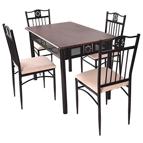 5 Pcs Elegance Wood Metal Dining Table Set Kitchen Breakfast Dining Furniture New