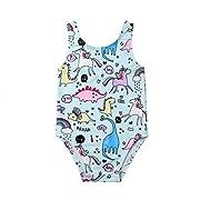 Newborn Baby Girl Unicorn Swimsuit Straps Bathing Suit Bikini Dinosaur Swimwear for Baby Girls Beach Wear (Sky Blue, 90(6-12 Months))