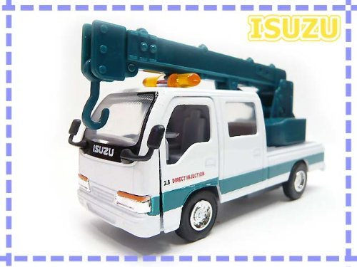 1/35 ¡ Isuzu truck Elf ¡ crane truck aerial work platforms ¡ white and green ¡ Cheap / toys / business vehicle / boy / gift / gift (Isuzu Work Truck)