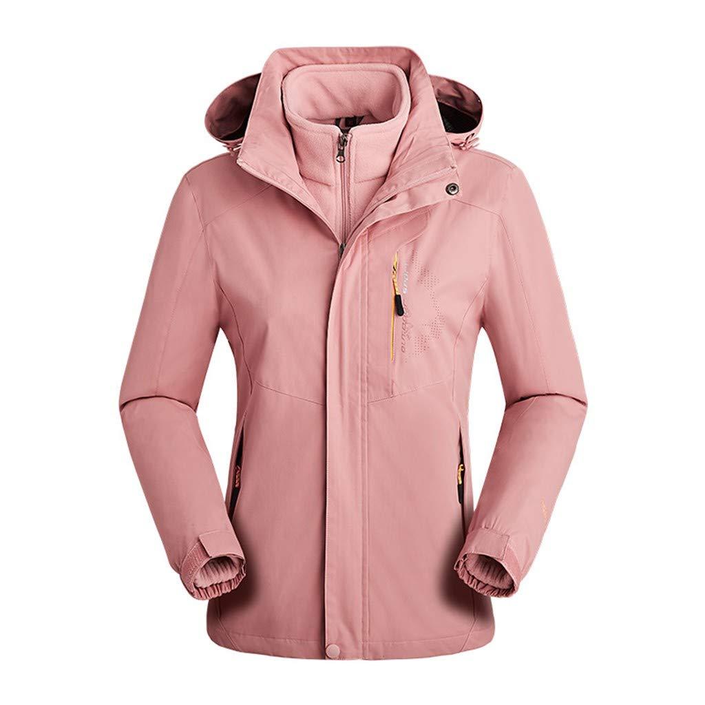 Fitfulvan Womens Mountain Waterproof Ski Jacket Windproof Rain Jacket Detachable Two-Piece Hooded Hiking Windbreaker Pink