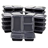 20-Pack Bento Lunch Box - 3-Compartment Meal Prep Containers with Clear Lids - BPA Free, Stackable - Durable Plastic Reusable Food Storage Set, Black, 36 oz, 8.9 x 7.7 x 2.2 Inches