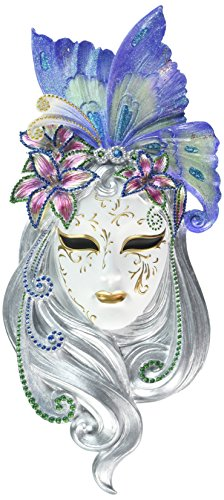 "Top Collection 13.75"" Venetian Mystique Mask Plaque -Butterfly Hand Painted Resin"