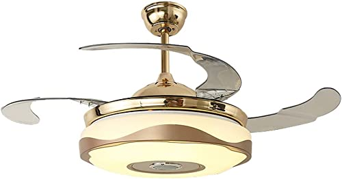 Ceiling Fan With Lamp Smart App Control Lighting Bluetooth Speaker Fan Chandelier Pendant Ceiling Lights Modern For Living Room, Dining Room Gold 36-inch Gold2