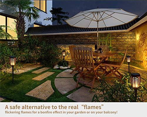 GOGOMY – Lámpara solar de llamas para jardín, antorchas, 96 LED, IP65, resistente al agua, diseño de llama, para patios traseros, jardines, césped, exterior (2 unidades): Amazon.es: Iluminación