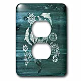 3dRose Russ Billington Nautical Designs - Mermaids Rule- White Anchor Design on Blue Weatherboard- not real wood - Light Switch Covers - 2 plug outlet cover (lsp_262165_6)