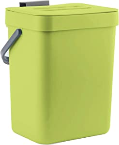 LALASTAR Food Waste Basket Bin for Kitchen, Small Countertop Compost Bin with Lid, Odor-Free Food Scrap Container, Wall Mounted Garbage Can, 3L/0.8 Gal, Green