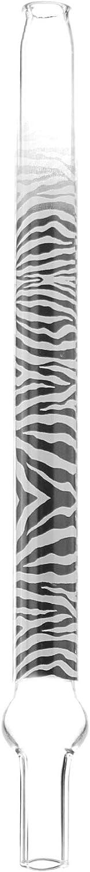 Kaya Shisha Zebra XS - Boquilla de Cristal para Tubo de esnórquel de Tortuga con diseño de Cebra, Longitud: Aprox. 20 cm más 3 cm conexión