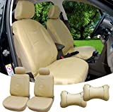 515903 Tan - Leather Like 2 Front Car Seat Covers + 2 Headrest Pillows Compatible to HYUNDAI ACCENT AZERA SONATA SONATA HYBRID SONATA PLUG-IN TUCSON TUCSON FUEL CELL 2018 2017 2016-2007