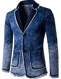 jeansian Men's Casual Cowboy Button Down Denim Blazer Suits Jacket 9596
