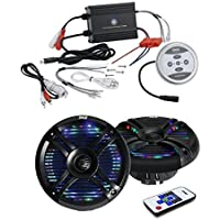 Bluetooth Marine Boat Amplifier, 600 Watt 2-Channel Water Resistant Amp With 2 X 6.5 Inch Marine Waterproof Dual Speakers with Built-in Multi-Color LED Lights, 250 Watt, Black - Outdoor Audio Package
