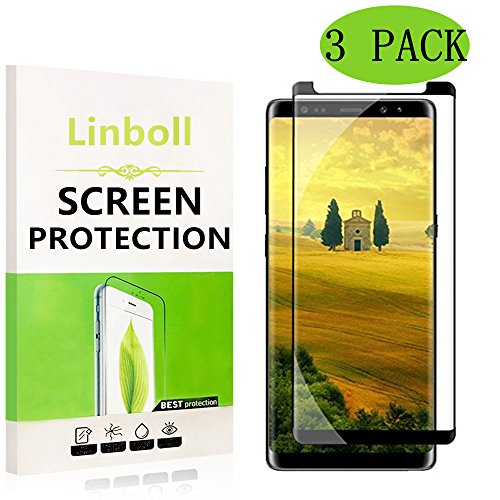 [3-Pack] Galaxy Note8 Screen Protector,Linboll [Case Friendly] Ultra Clear 3D PET HD Screen Protector Film for Samsung Galaxy Note8 2017 - Alcantara Black