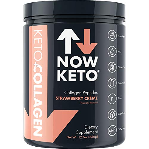 NOW KETO Keto Collagen Peptides w MCTs Powder Medium Chain Triglycerides – Keto Diet – Low Carb High Fat LCHF Great Fiber Source, Great for The Ketogenic Diet Ketosis- Strawberry Creme
