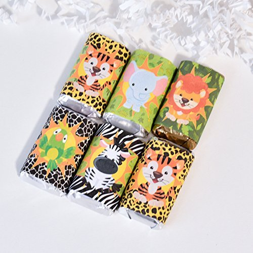 54 Jungle Party Candy Wrappers, Safari Candy Stickers, Jungle Party Gift Favors, Safari Birthday ()