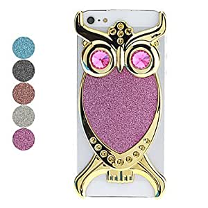 Golden Owl Pattern Flash Powder Hard Case for iPhone 5/5S --- COLOR:Purple