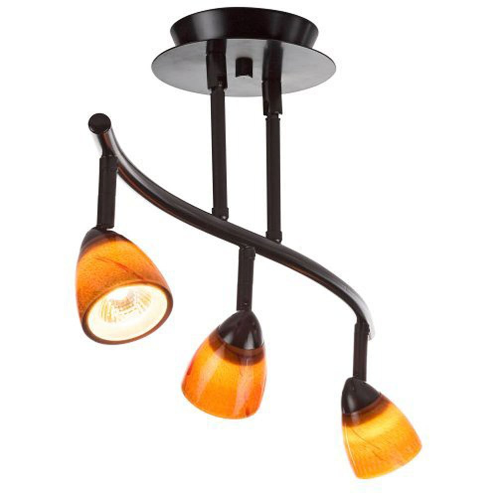 Black Finish Cal Lighting SL-954-3-BK//WSW Track Lighting with White Glass Shades