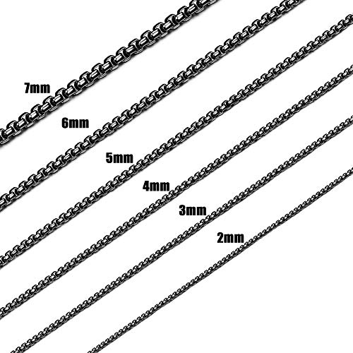 (Jstyle 2-7mm Black Necklace for Women Men Square Rolo Chain Necklace Stainless Steel Neckace Jewelry 18