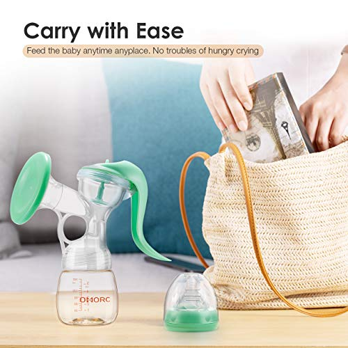 OMORC Breast Pump Manual, Breastfeeding Pump with Healthier PPSU Material Milk Bottle, Comfortable Hand Breast Pump with 2 Sucking Modes, 100% Food-Grade BPA Free-Green