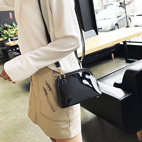 OULII Damen Shell Umhängetasche Crossbody Bag PU-Leder Handtasche Clutch (Schwarz) aaQQ13mbs