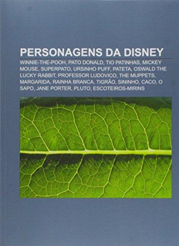Personagens da Disney: Winnie-the-Pooh, Pato Donald, Tio Patinhas, Mickey Mouse, Superpato, Ursinho Puff, Pateta, Oswald the Lucky Rabbit