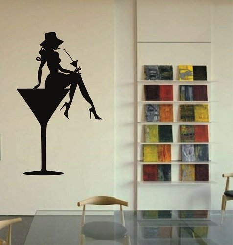 (Wall Vinyl Decal Home Decor Art Sticker Girl in Martini Glass Drinks Cocktail Party Room Removable Stylish Mural Unique)