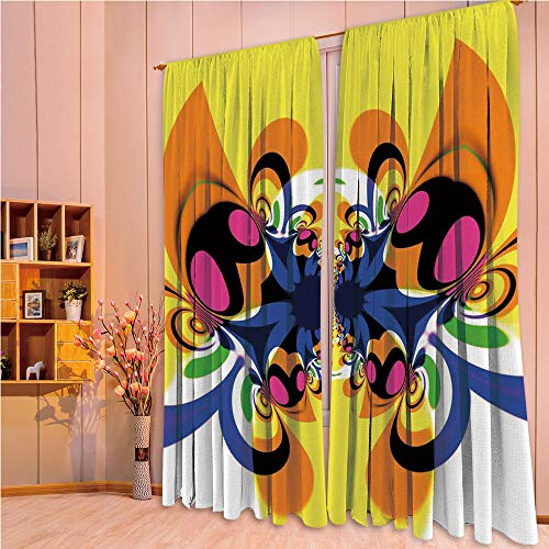 ZHICASSIESOPHIER Darkening Thermal Insulated Short Curtain Adjustable Tie Up Shade Panel for Small Window,Rod Pocket,Butterfly with Morphing Dynamic Forms Digital Made 108Wx73L - Blockade Curtain Rod