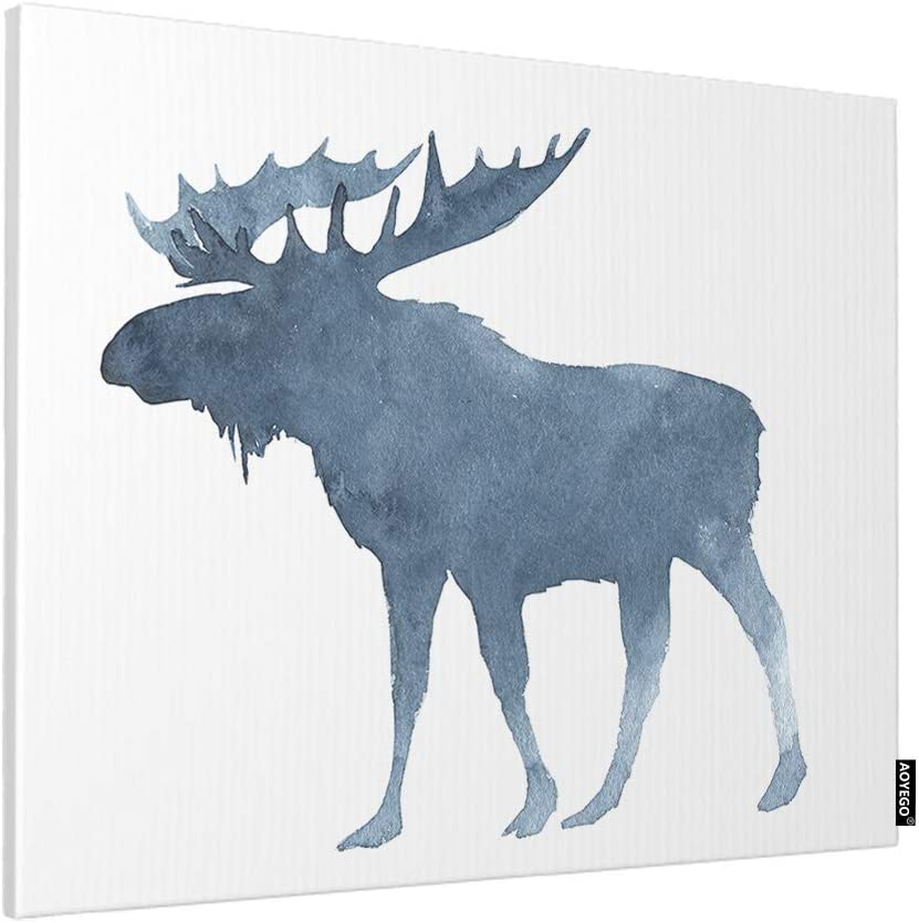 Amazon Com Aoyego Moose Wall Art Cute Christmas Animal With Big Horns Winter Snow Print Canvas Artwork Paint Decorative For Home Living Room Bedroom 16x12 Inch Blue White Posters Prints