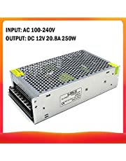 Roloiki AC 220V to DC 12V 20.8A 250W Voltage Transformer Regulated Switching Power-Supplys Adapter Converter for Strips Light Camera Computer Project Radio