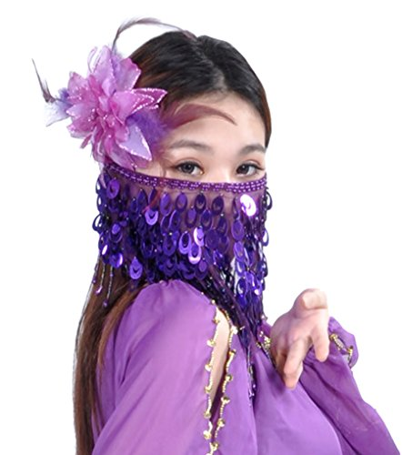 Astage Belly Dance Veil Face Scarf Trible Egyptian Mask Halloween accessories Purple -