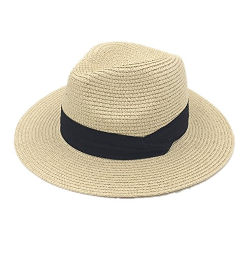 primerry Fashion Lady (Woven Grass Sunscreen Large Brimmed) Butterfly Knot Cap Hat (SSD- Beige)