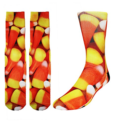 Cute Silly Candy (Zmart Men's Crazy Funny Cute Candy Corn Sports Crew Cotton Novelty Socks)