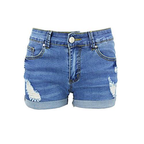 Xudom Womens Ripped Denim Shorts Mid Waist Body Enhancing Curvy Cutoff Distressed Light Blue US 16-18 (Wholesale Booty Shorts)