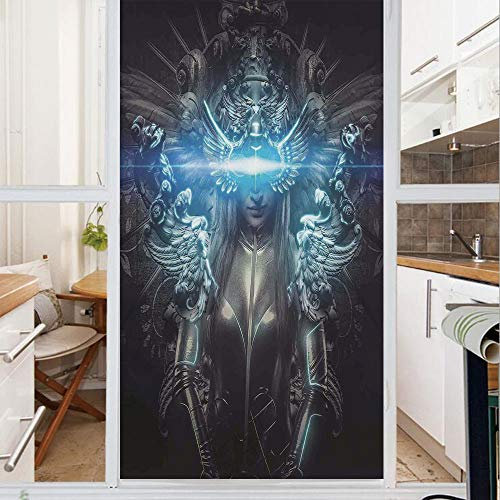 Decorative Window Film,No Glue Frosted Privacy Film,Stained Glass Door Film,Princess in Royal Gothic Silver Dress Futuristic Female Figure Fairy Muse Image Decorative,for Home & Office,23.6In. by 59In