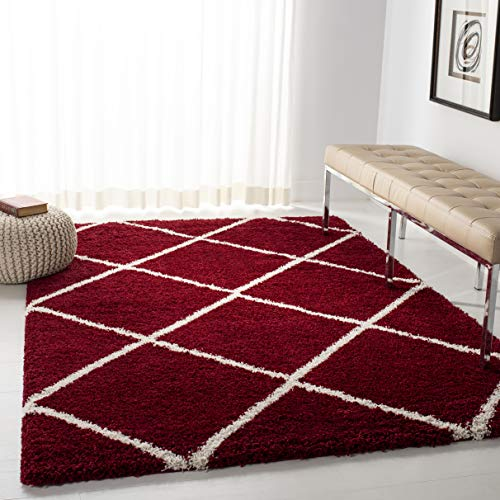Square Red Shag Rug - Safavieh Hudson Shag Collection SGH281R Red and Ivory Moroccan Diamond Trellis Square Area Rug (7' Square)