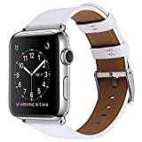 Apple Watch Band, COVERY 38MM iWatch Band Genuine Leather Strap Stainless Metal Buckle for Apple Watch Series 2, Series 1, Sport & Edition- White