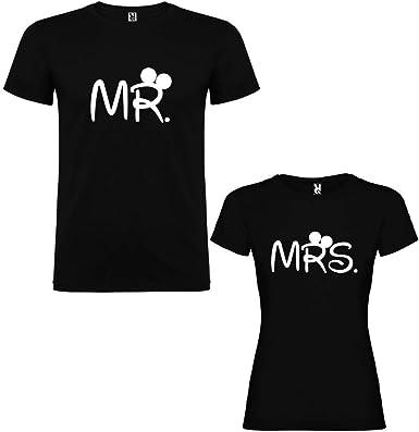 Pack de 2 Camisetas Negras para Parejas, Mr. y Mrs, Blanco: Amazon.es: Ropa y accesorios