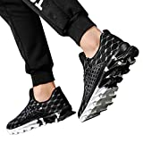 HTHJSCO Mens Sports Running Shoes Lightweight Breathable Anti-Slip Athletic Leisure Walking Sneakers (7.5, Black)