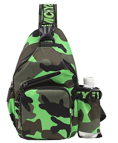 SAIERLONG Shoulder Sling Backpack Men Women Girls Chest Gym Fanny Bag Sack Satchel Outdoor (Color: Camouflage Green)
