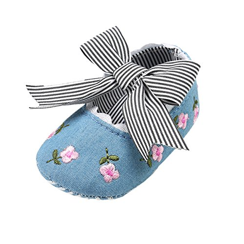 Sakuracan Baby Girls Mary Jane Shoes Soft Sole Princess Shoes with Bowknot(0-18 Months)