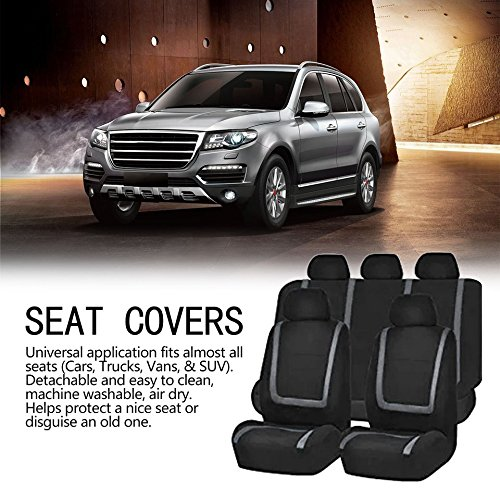 Baynne 9pcs Detachable Washable Auto Seat Covers Universal Vehicle Protective Covers(Color:Gray)