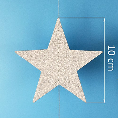 Lacheln Star Party Decorations Birthday Baby Shower Christmas Hanging Paper Garland (Glitter Silver,26 Feet)