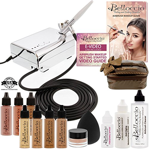 Belloccio Professional Beauty Deluxe Airbrush Cosmetic Makeup System with 4 Tan Shades of Foundation in 1/2 oz Bottles - Kit includes Blush, Bronzer and Highlighter and 3 Free Bonus Items, - Air Dlx