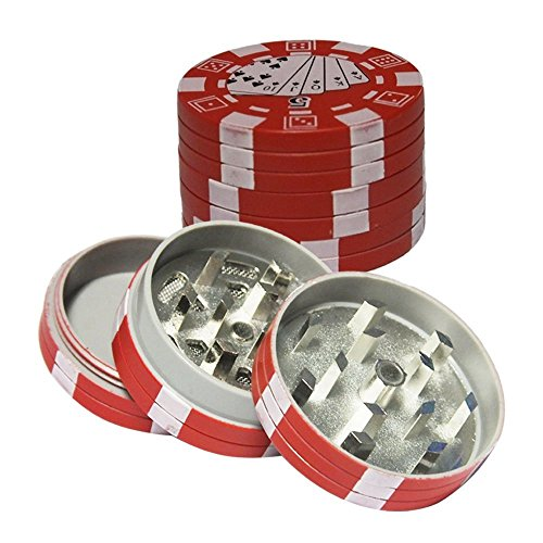 - 1pcs Pocket Portable Grinder, Metal Alloy 3 Layers Mini Poker Chip Style Grinder, Poker Chip Herb Tobacco Grinder with Pollen Catcher-Red
