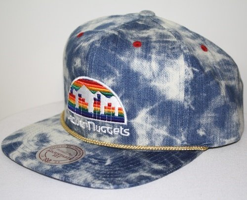 - New Mitchell & Ness Blue Acid Wash Denim Snapback Hat Cap (NBA Denver Nuggets)