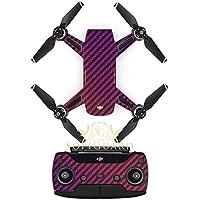 SopiGuard Chameleon Purple Carbon Fiber Precision Edge-to-Edge Coverage Vinyl Sticker Skin Controller 3 x Battery Wraps for DJI Spark