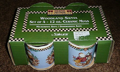 Debbie Mumm Woodland Santa Set of 4 (12 ounce) Mug ()