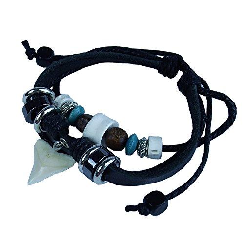 GemShark Real Shark Teeth Bracelet Leather Charm Bangle Jewelry with Vertebra Fish Bone (Black) -