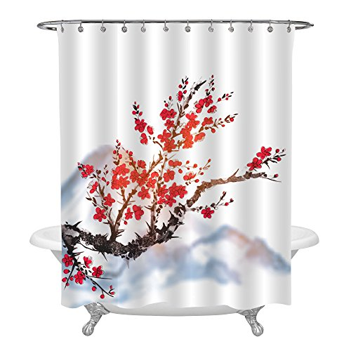 MitoVilla Japanese Bathroom Accessories for Home Decor, Oriental Sakura Cherry Tree in Blossom Covering The Mountain, White Waterproof Fabric Shower Curtain, Black Red Painting, 72 W x 72 L inches