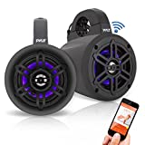 Waterproof Marine Wakeboard Tower Speakers - 4 Inch Dual Subwoofer Speaker Set w/LED Lights & Bluetooth for Wireless Music Streaming - Boat Audio System w/Mounting Clamps - Pyle PLMRLEWB47BB (Black)