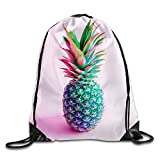 MCWO GRAY Magic Pineapple Drawstring Bag Backpack Draw Cord Bag Sackpack Sport Bag Gym Bag Large Lightweight Gym For Men And Women Hiking Swimming Yoga