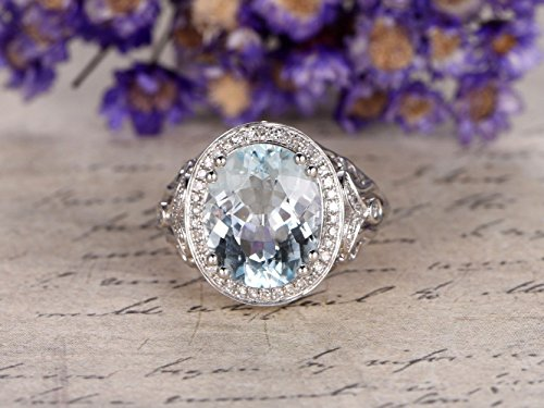 (Natural Oval Cut 5ct Blue Aquamarine Engagement Ring Diamond Solid 14k White Gold Big Gemstone March Birthstone Wedding Ring Art Deco Filigree Antique Bridal Ring Halo Anniversary)